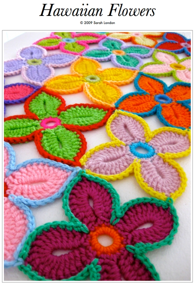 Hawaiian flower by Sarah London - Free DIY tutorial tutoriel - fleur crochet hawaiienne